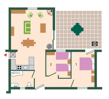 Wagtail Luxury Holiday Cottage Floor Plan