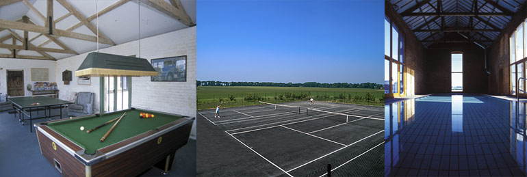 Holiday Cottages with Indoor Swimming Pool, tennis courts and games room